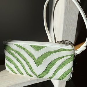 Coach White Leather & Green Sig Zebra Wristlet